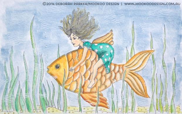 Week 19: Fish. Fineliner & watercolour.